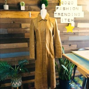 Vtg Leather Distressed Camel Trench Coat Sz M